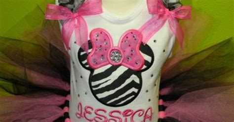 angelise hadley hot pink rhinestone zebra minnie mouse birthday girls tutu