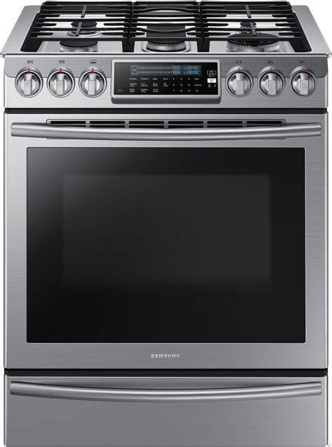 slide in range samsung nx58h9500ws 30 quot slide in gas range with 5 sealed burners 5 8 cu ft capacity guiding