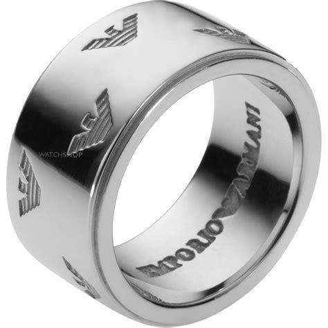 s armani sterling silver size u signature eagle ring