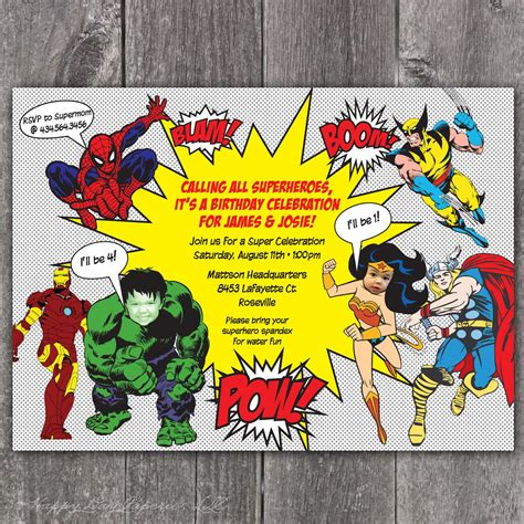 superhero party invitations party invitations templates