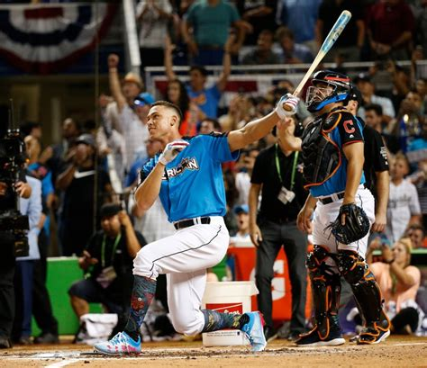 aaron judge socks at the home run derby aaron judge makes baseballs his