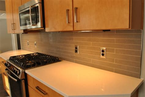 tile backsplash quartz countertop transitional