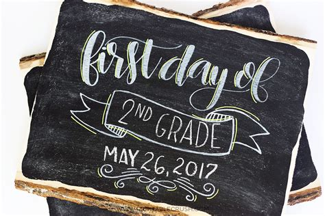 last day of school hand lettered chalkboard signs