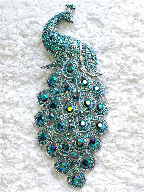 Peacock Brooch emerald green ab 5 quot peacock pin brooch c45 peacocks