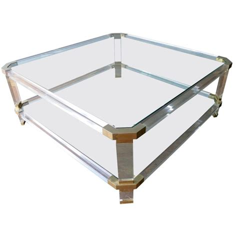 Lucite And Brass Coffee Table Large Lucite And Brass Coffee Table At 1stdibs