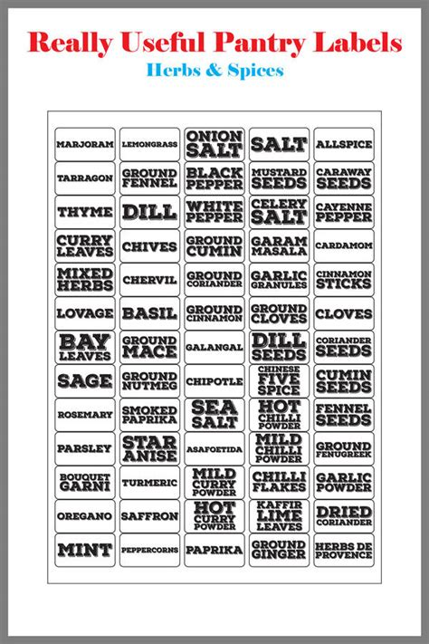 List Of Spices For Pantry by Really Useful Pantry Labels Herbs And Spices By Bread