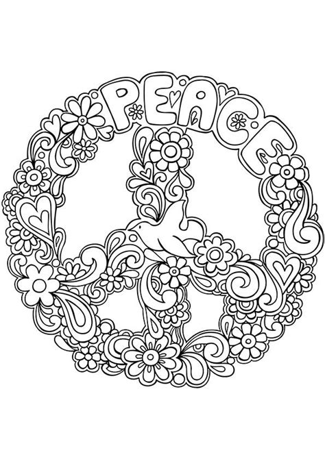 Peaceful Patterns Coloring Pages | simple and attractive free printable peace sign coloring