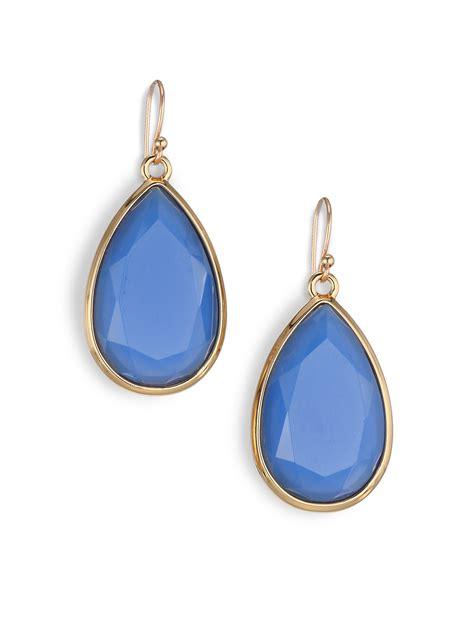 lyst kate spade new york day tripper faceted drop earrings in blue