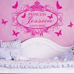 princess wall art stickers princess sleeps here x large name princess girl vinyl wall
