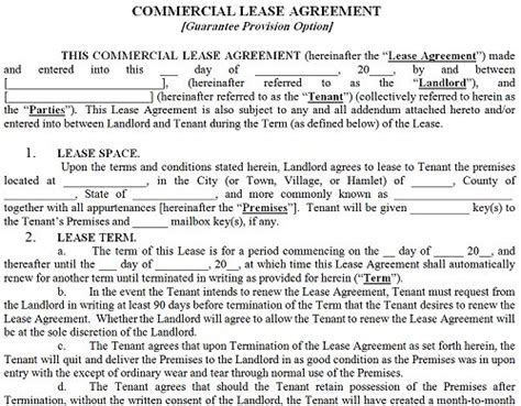 commercial rental lease agreement template commercial property lease agreement