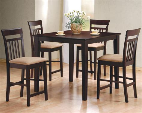 dining room bar furniture dining room dark brown stained wooden pub table beautify with velvet cushioned chairs as well