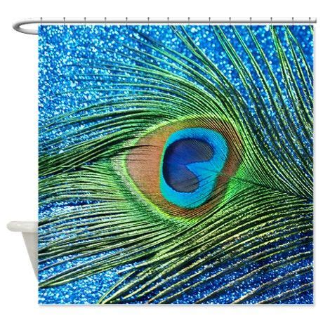 Peacock Blue Bathroom Accessories Glittery Blue Peacock Shower Curtain On
