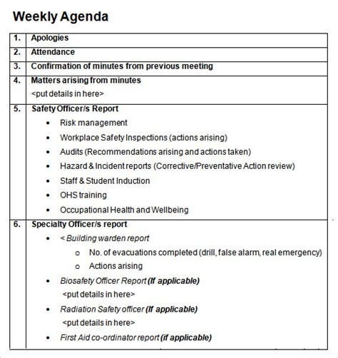 ohs committee meeting minutes template 12 sle agenda templates free sles exles format