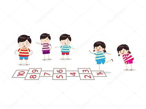 dibujos de niños jugando rayuela ni 241 os jugando a la rayuela en un patio de recreo archivo