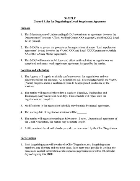 Union Letter Of Agreement magnificent mou templates pictures inspiration exle