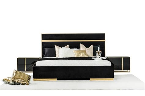 Gold Bedroom Set by Domus Montblanc Modern Black Gold Bedroom Set