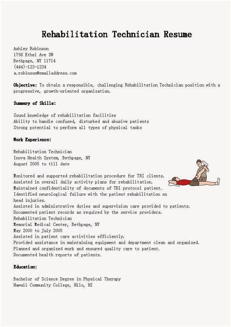 Resume Samples: Rehabilitation Technician Resume Sample