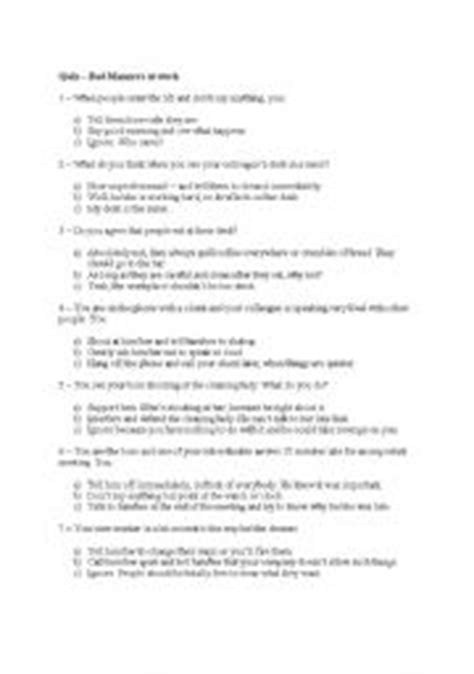 printable etiquette quiz good manners good manners level elementary age 12 14 car