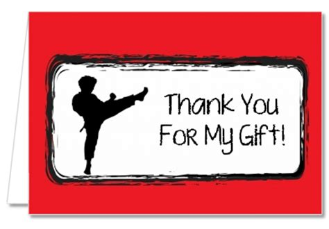 Thank You Note To Karate Birthday Thank You Cards Karate Kid Thank You Notes