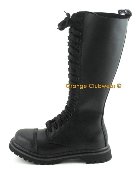 demonia mens leather steel toe knee high combat boots ebay
