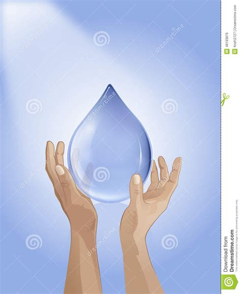 drop in hand drop of water in hand stock illustration image 48193879