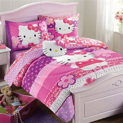 Hello Kitty Bedroom Sets hello kitty purple pink full comforter and sheet set