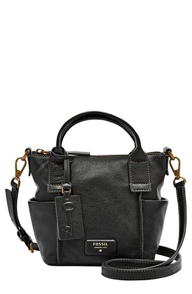 Fossil Emerson Satchel Floral fossil micro emerson satchel in black lyst
