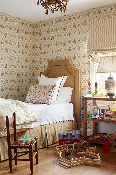 another twin bed idea burlap headboards bedrooms kids room with ship print wallpaper country boy s room