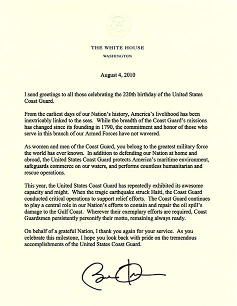 Letter For Birthday President Obama Wishes Coast Guard Happy Birthday 171 Coast Guard Compass