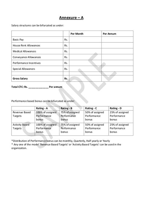 appointment letter format with salary annexure hrguide sle offer letter