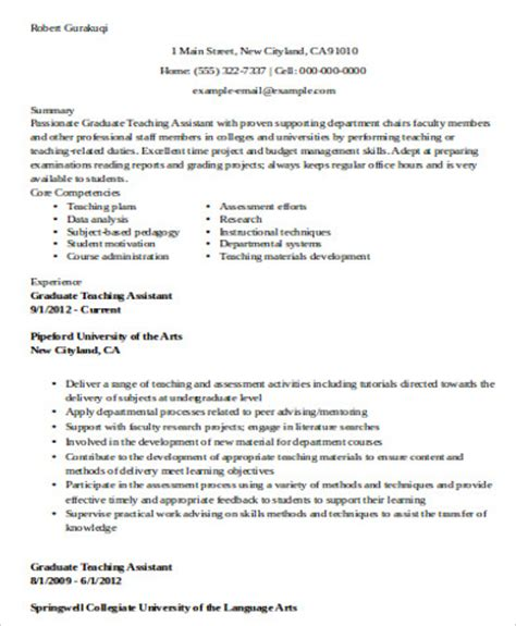Resume For Graduate School Teaching Sle Teaching Assistant Resume 9 Exles In Word Pdf