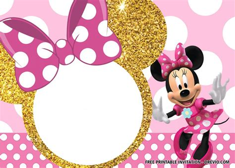 pink  gold minnie mouse invitation templates
