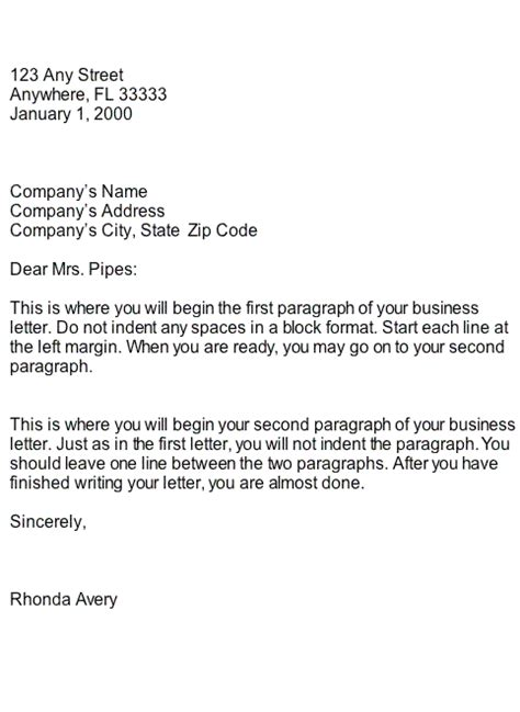 Business Letter Format And Style Block Style Business Letter Format Sle