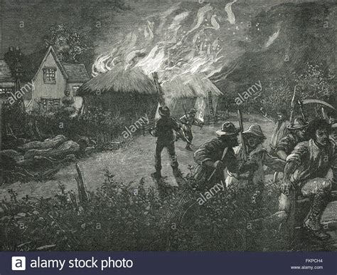 swing riots swing riots in kent mob burning a farm 1830 stock photo