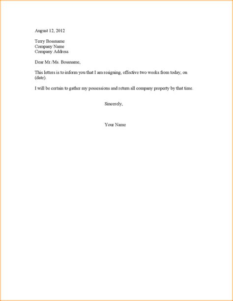 Resignation Letter Two Weeks Notice 7 2 Week Notice Letter Exle Basic Appication Letter
