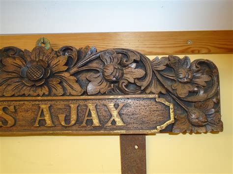 wooden boat name plaques carved wooden name plaque from an hms ajax tender boat