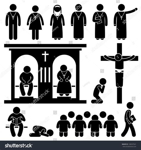 Amazing Catholic Church Official Site #6: Stock-vector-christian-religion-culture-tradition-church-prayer-priest-pastor-nun-stick-figure-pictogram-icon-138337541.jpg