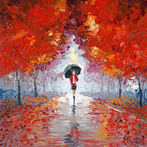 Heavy Textured Paint - red raincoat paintings by eric boston