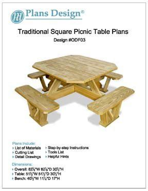woodwork diy square picnic table plans  plans