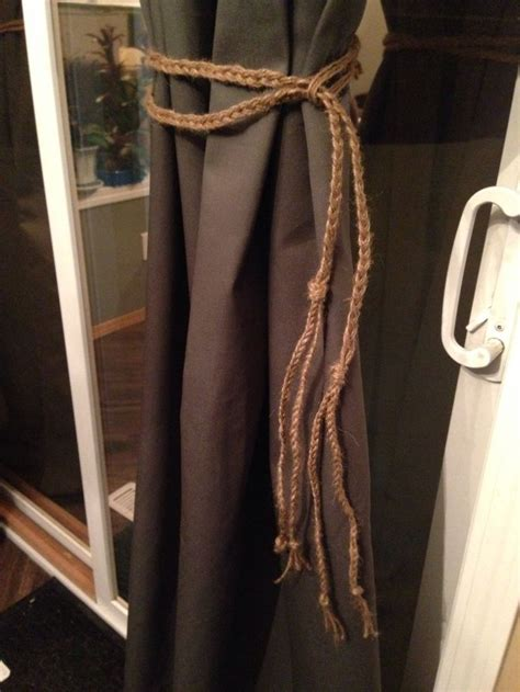 rustic curtain tie backs created my own rustic curtain tie backs using burlap hemp
