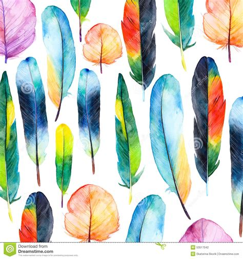 watercolor feather pattern watercolor feathers set hand drawn vector illustration
