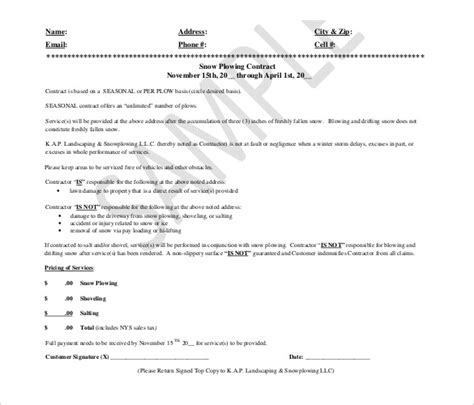 snow removal contract templates snow plowing contract template 20 free word pdf