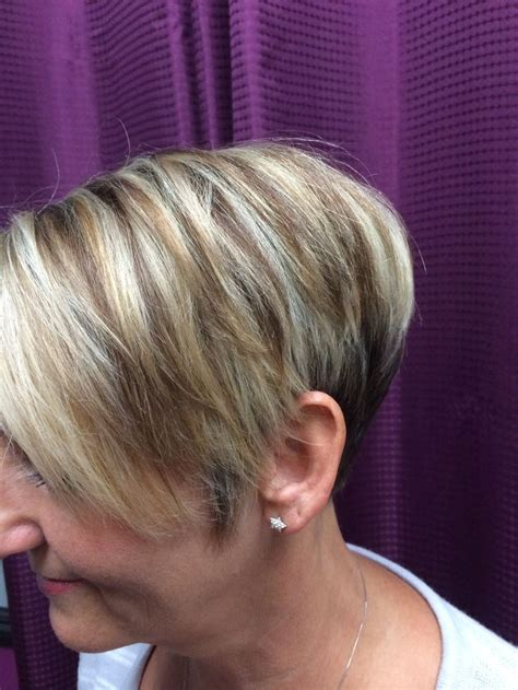 pics of lo lites in short white hair hi low lights and cite stacked pixie my work pinterest