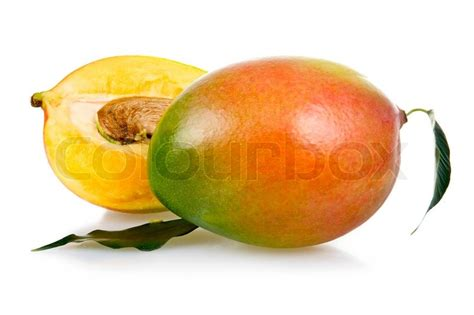 pictures of colour indicator of superdrug vibrance mango copper burst and copper gold ripe mango fruits with leaves isolated on white background