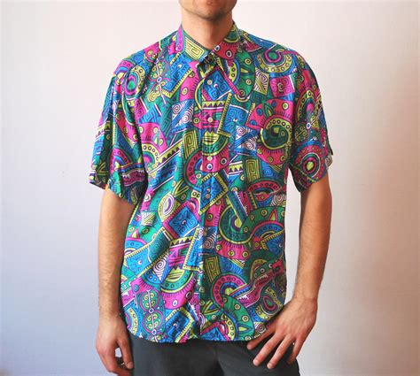 vintage colorful neon shirt 90s unisex by
