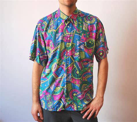 Vintage colorful neon shirt 90s men unisex size medium large