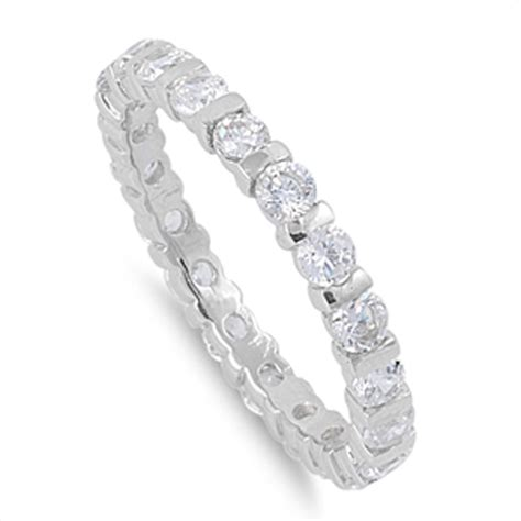 7 Beautiful Eternity Rings by Sterling Silver S Clear Cz Eternity Ring Beautiful