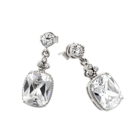 Sterling Silver Square Earrings sterling silver square cz drop earrings sbge00381