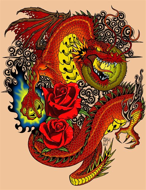 red dragon tattoo pictures dragons with design