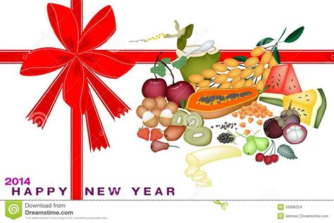 New Year Gift Card With Health And Nutrition Fruit Stock